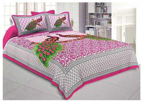 Frionkandy Pink Cotton Printed Double Bed Sheet With 2 Pillow Covers- Thread Count ( Tc ) 120