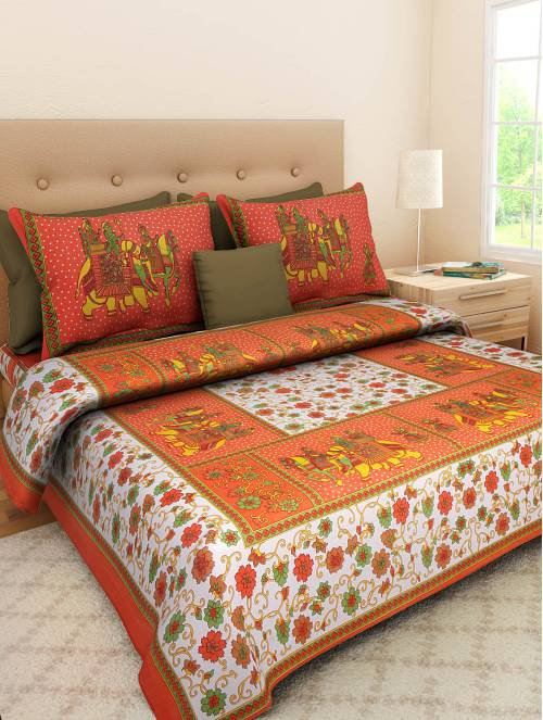 Frionkandy Orange Cotton Printed Double Bed Sheet With 2 Pillow Covers- Thread Count ( Tc ) 120