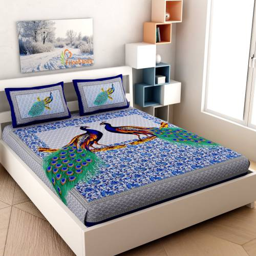 Frionkandy Blue Cotton Printed Double Bed Sheet With 2 Pillow Covers- Thread Count ( Tc ) 120