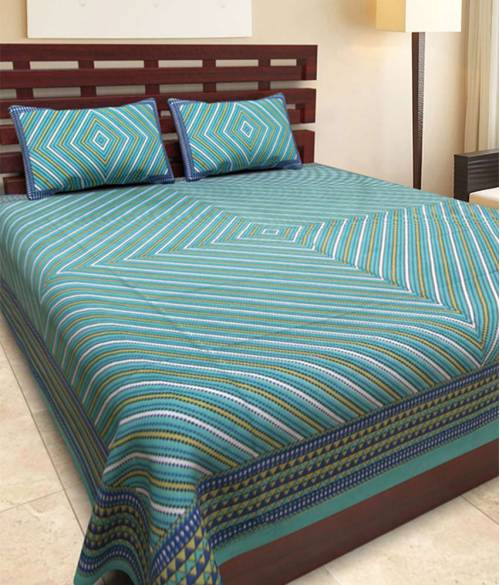 Frionkandy Turquoise Cotton Printed Double Bed Sheet With 2 Pillow Covers- Thread Count ( Tc ) 120