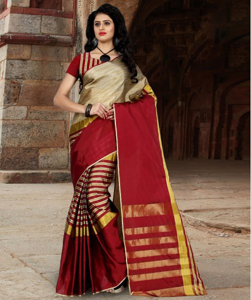 Craftsvilla Red Color Striped Tussar Silk Saree With Blouse Piece