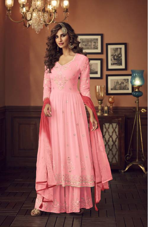 Pink Color Faux Georgette Sharara Style Suit