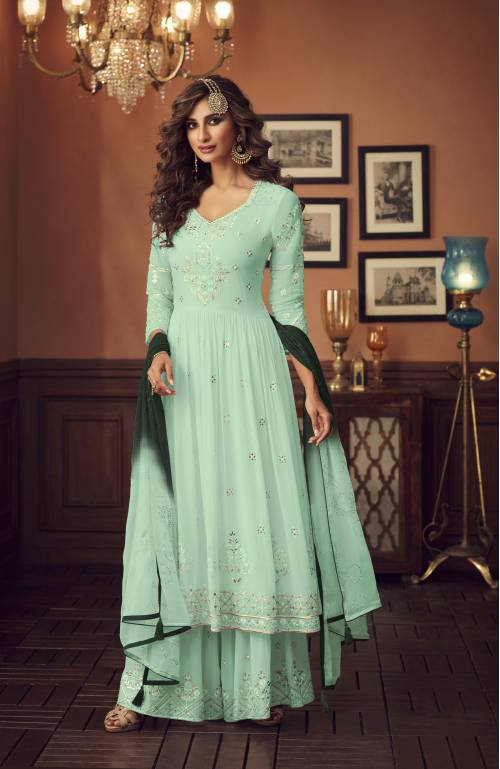 Skyblue Color Faux Georgette Sharara Style Suit