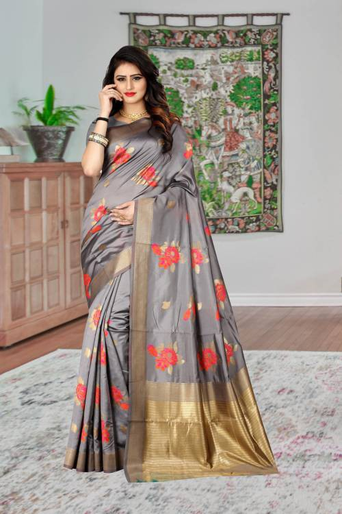 Grey Banarasi Silk Blend Woven Saree With Blouse Piece