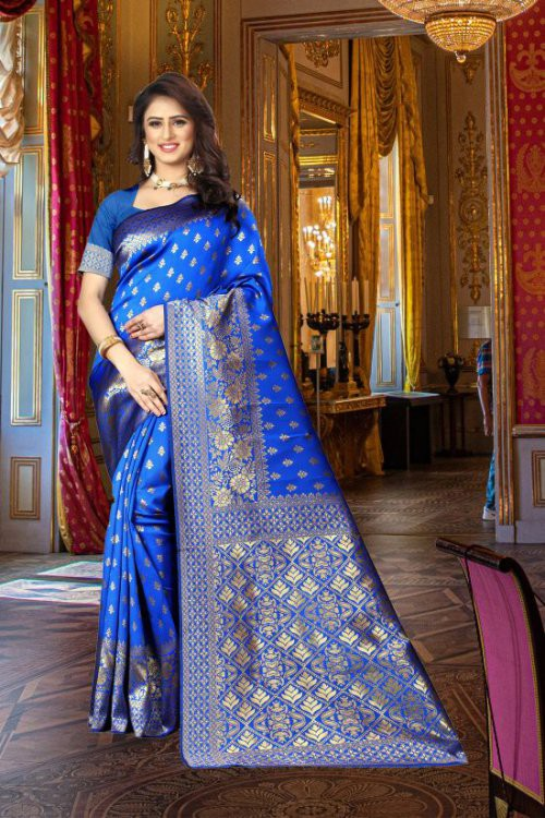 Royal Blue Banarasi Silk Blend Woven Saree With Blouse Piece