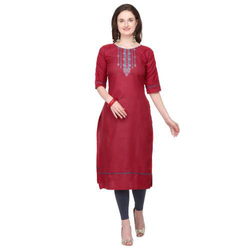Maroon Cotton Blend Embroidered Knee Length Kurti