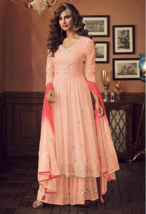 Lilots Peach Georgette Embroidered Semi Stitched A Line Style Suit