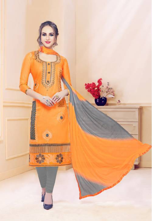 Mustard Cotton Embroidered Unstitched Suit