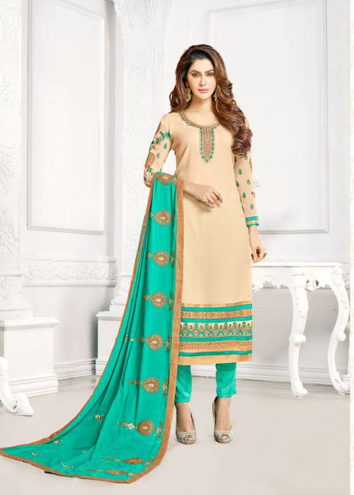 Beige Georgette Embroidered  Straight Suit