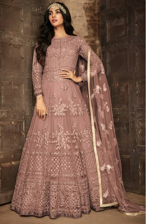 Brown Net Embroidered Semi Stitched Anarkali Suit