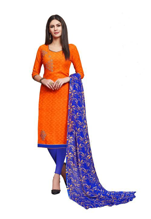 Orange Cotton Blend Embroidered  Straight Suit