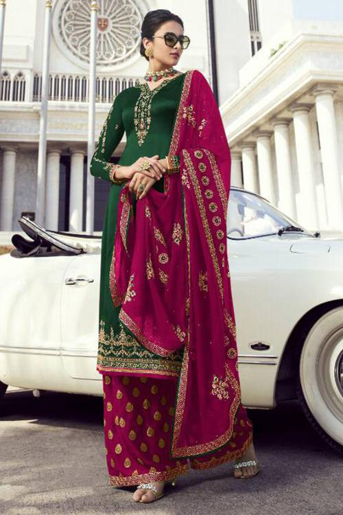 Lilots Green Georgette Embroidered Semi Stitched Straight Suit