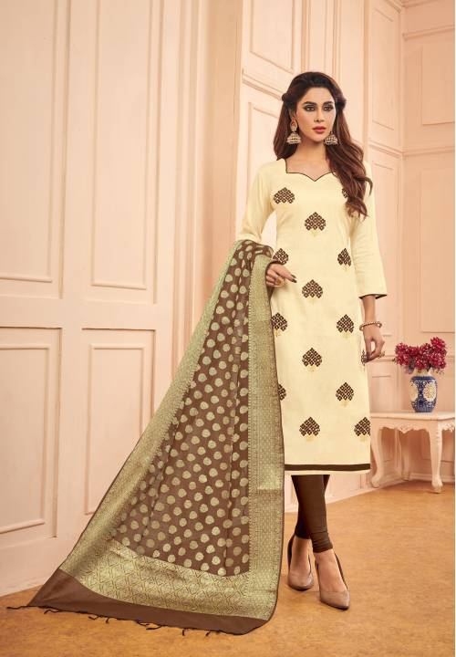 Beige Cotton Embroidered  Straight Suit