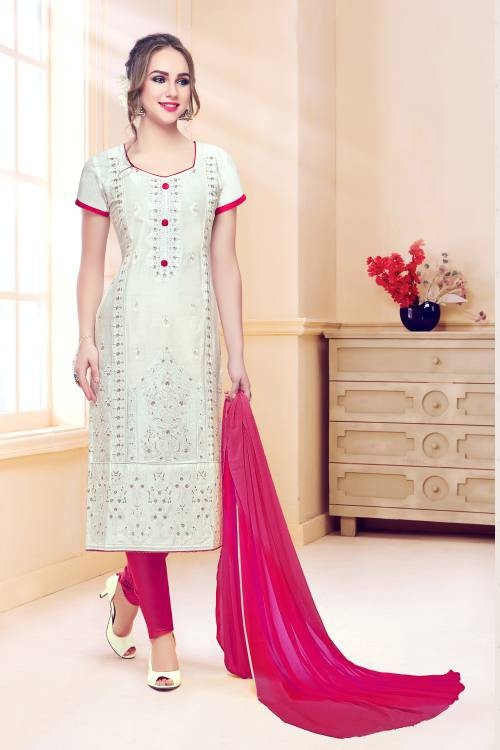 Off White Cotton Embroidered Unstitched Suit