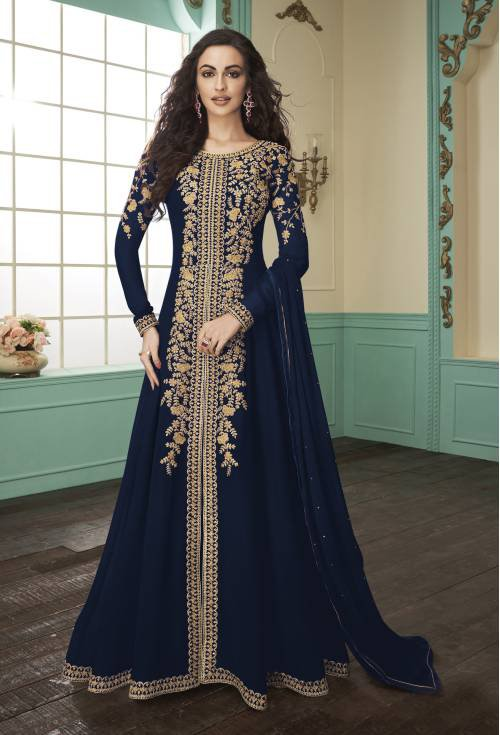 Navy Georgette Embroidered Semi Stitched Anarkali Suit