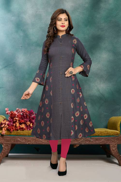 Fabviva Grey Rayon Embroidered Anarkali Kurti