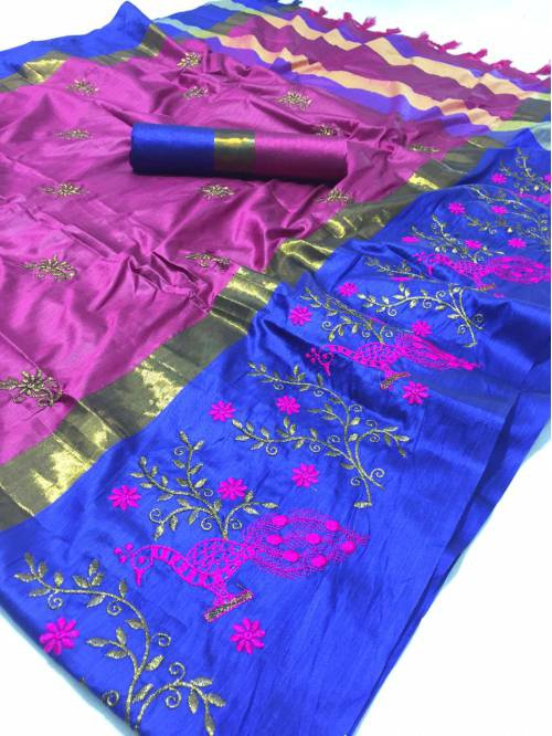 Pink Women\'s Embroidery Work Cotton Silk Saree With Running Blouse Piece