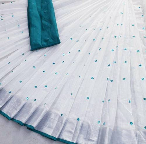 Turquoise Linen Mirror Work Saree With Blouse Piece