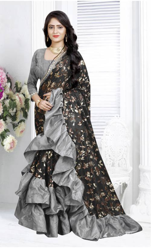 Black Lycra Floral Printed Ruffle Saree With Blouse Piece