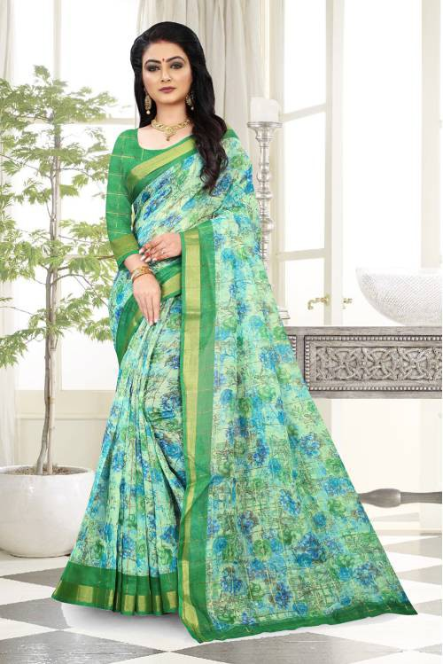 Green Linen Floral Printed Saree With Blouse Piece