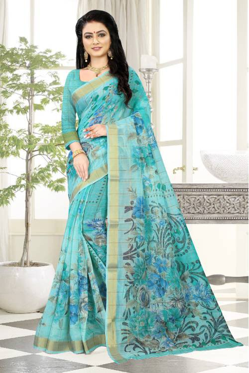 Blue Linen Floral Printed Saree With Blouse Piece