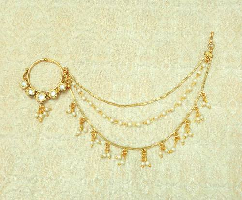 Buy Craftsvilla White Kundan Copper Medium Size Nath Nose Ring
