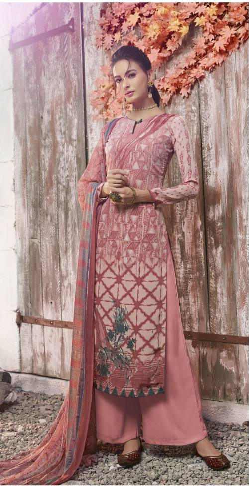 Pink Crepe Printed Unstitched Straight Suit
