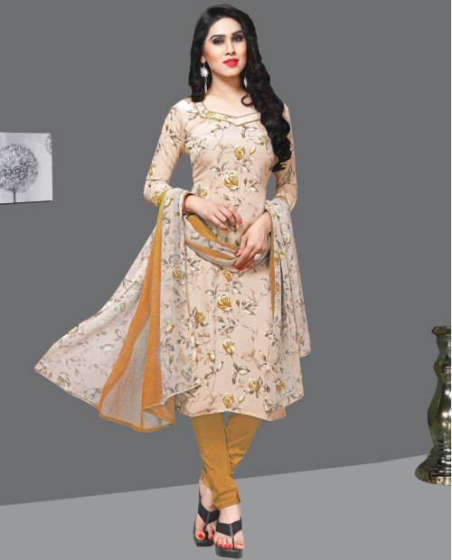 Beige Crepe Printed Unstitched A Line Style Suit