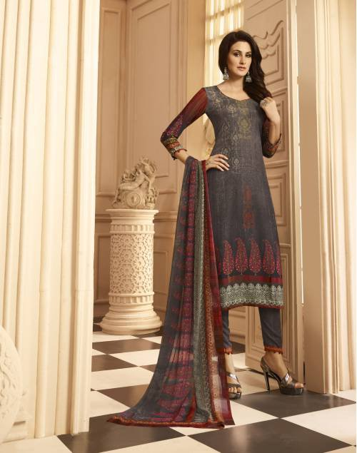 Grey Crepe Printed Unstitched A Line Style Suit