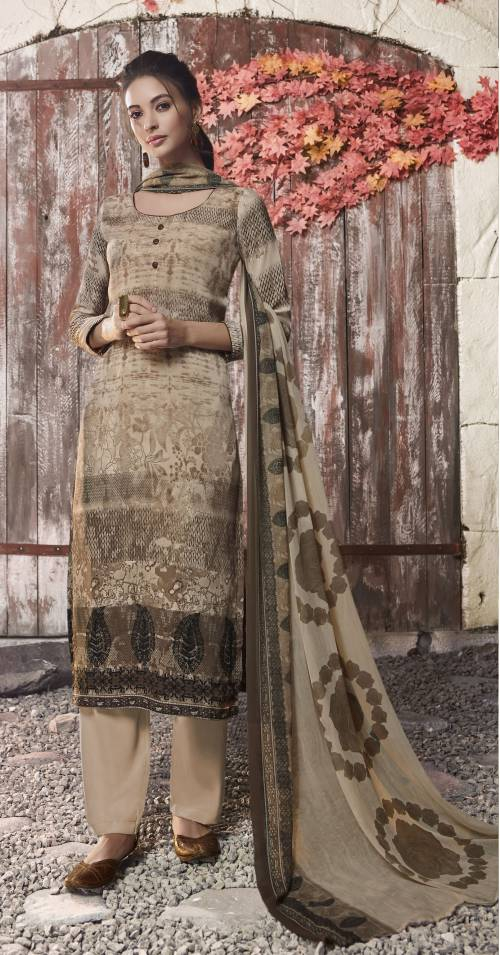 Beige Crepe Printed Unstitched Straight Suit