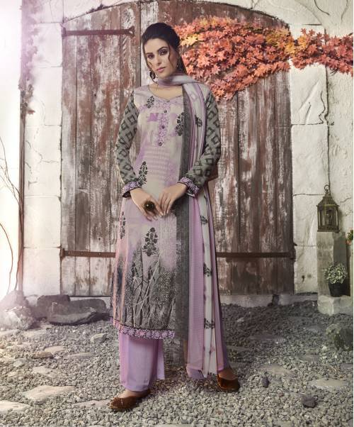 Multicolor Crepe Printed Unstitched Straight Suit