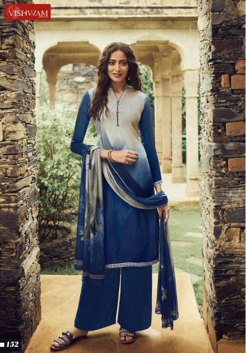 Blue Crepe Printed Unstitched Straight Suit