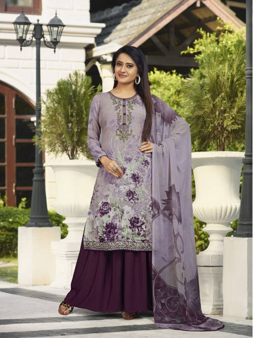Purple Crepe Embellished Unstitched Straight Suit