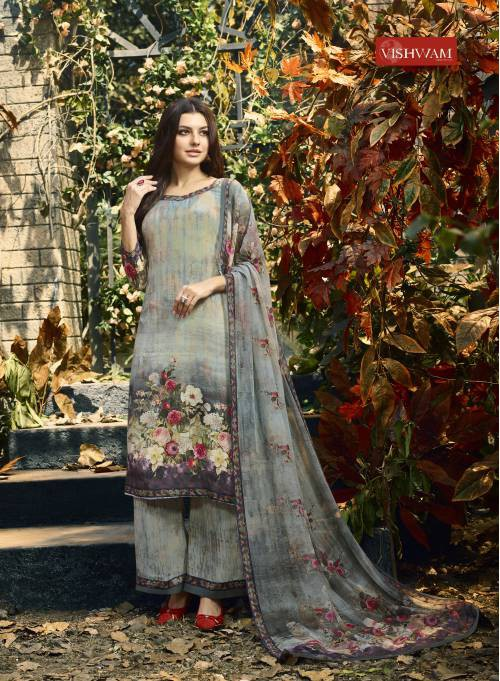Grey Crepe Printed Unstitched Straight Suit