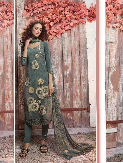 Teal Green Crepe Printed Unstitched A Line Style Suit