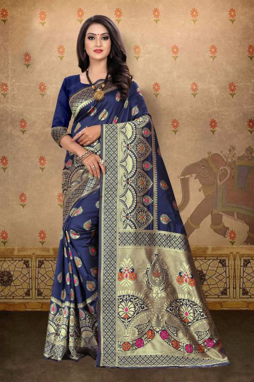 Navy Blue Banarasi Silk Jacquard Woven Saree With Blouse Piece