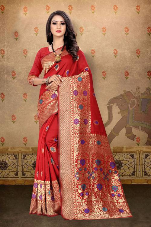Red Banarasi Silk Jacquard Woven Saree With Blouse Piece