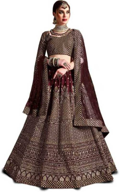 Maroon Satin Embroidered Designer Semi-stitched Lehenga Choli