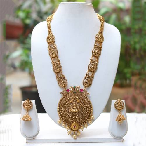 Craftsvilla Latest Antique Laxmi Design Green Maroon Necklace