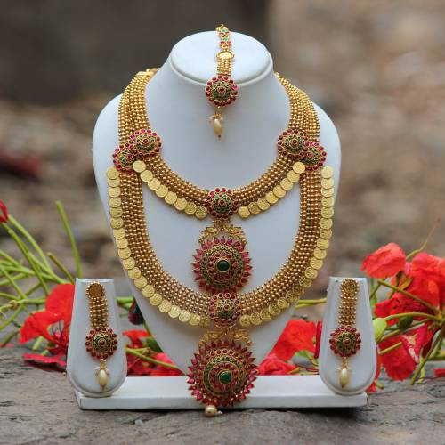 Craftsvilla Traditional South Indian Temple Coin With Peacock Designing Green & Maroon Kundan Pearl Drop Haram Set