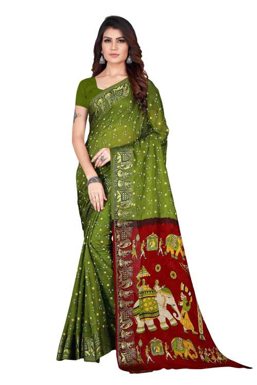 Green Art Silk Printed Saree With Blouse Piece