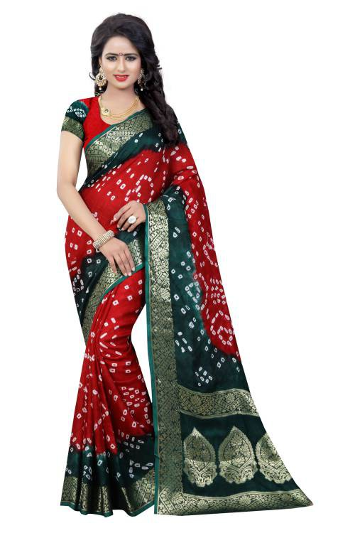 Red Art Silk Handicraft Saree With Blouse Piece
