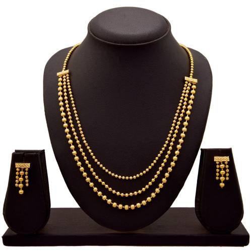 Craftsvilla Latest Indian Bollywood 18k Designer 3 Line Necklace Earrings Set