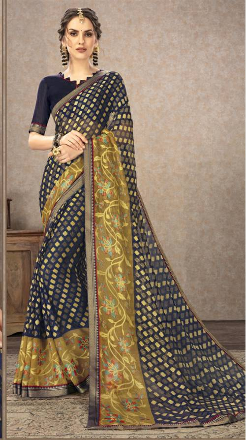 Multicolor Chiffon Designer Solid Saree With Blouse Piece