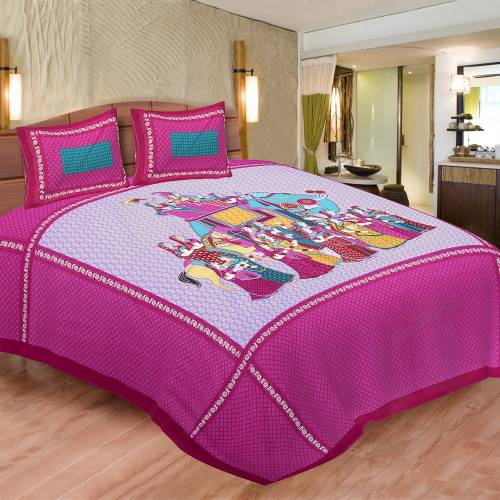 Chokor Red And Green 141 Tc Cotton Double Printed Bedsheet