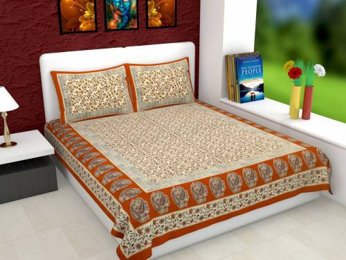Chokor Cotton Double Printed Bedsheet With 141 Thread Count ( Pack Of 1, Brown)