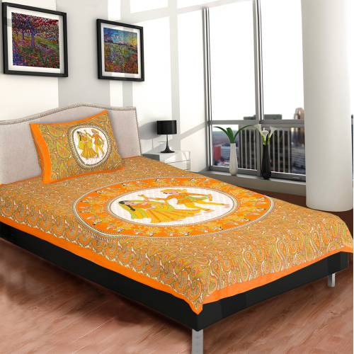 Chokor Orange 141 Tc Cotton Single Bed Printed Dandiya Bedsheet With One Pillow Cover