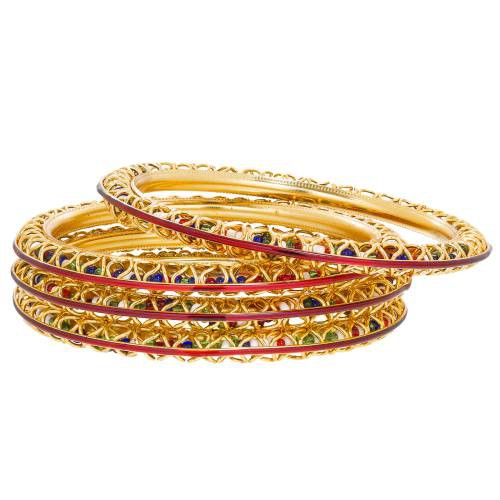 Gold Plated Multicolor Beads And Meenakari Embedded Bangles Set