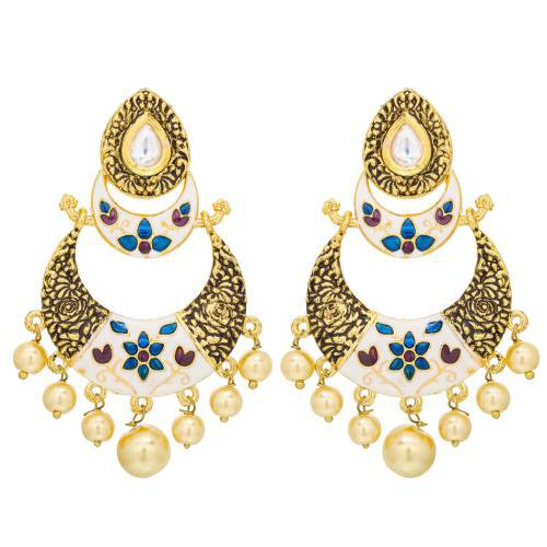 Craftsvilla  Designer Floral Inspired White Traditional Earrings