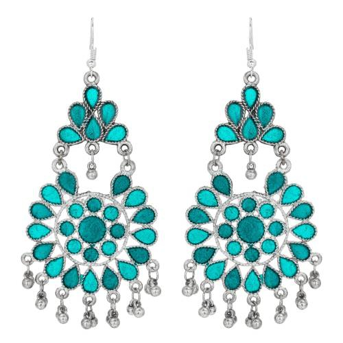 Craftsvilla  Oxidized Silver And Sky Blue Fusion Navratri Special Chandelier Earring Set